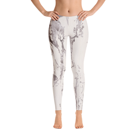 Arctic Marble Cream Print Leggings - Live First Fitness