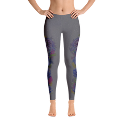 Grey Watercolor Rose Print Leggings - Live First Fitness