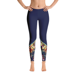 Navy Blue Floral Color Block Leggings - Live First Fitness