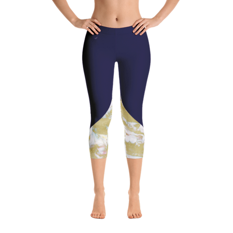 Navy Gold Marble Capri Leggings - Live First Fitness