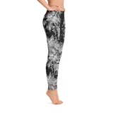 Black and White Floral Print Leggings - Live First Fitness