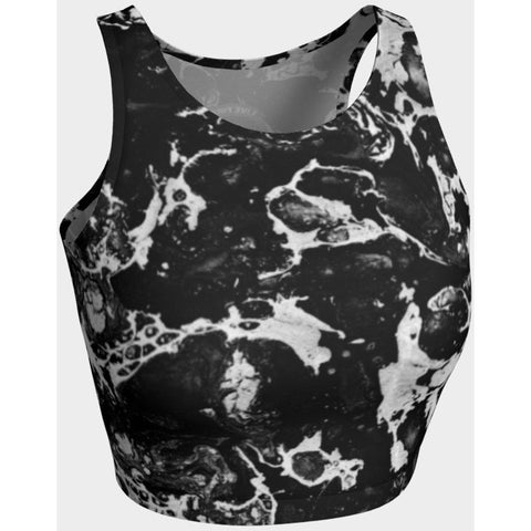 Black and White Marble Crop Tank - Live First Fitness