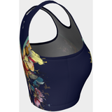 Navy Floral Crop Tank - Live First Fitness