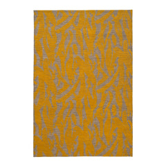Capri Rug with a large abstract design shades of yellow over varied stried lighter neutral color background