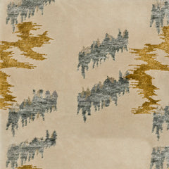 Detail of Stepping Stones rug featuring an organic jagged linear design in silver and gold on an ivory ground
