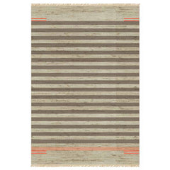 Nomad II by Oliver Yaphe, netural stripes with accents of coral and orange
