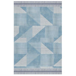 Arrow Rug by Oliver Yaphe, stacked triangles and squares ins hades of light blue with a striped border