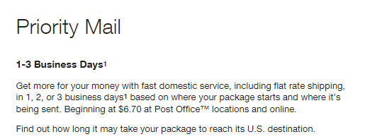 Spectrum King USPS priority mail delivery time