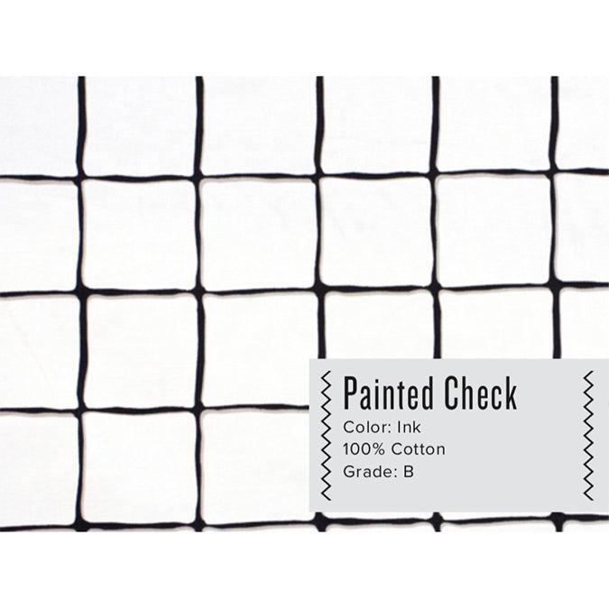 PAINTED CHECK CURTAIN PANEL