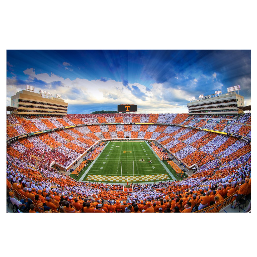 Tennessee Volunteers -  Sunset over Checkerboard Neyland 2 layer Dimensional - College Wall Art #Dimensional