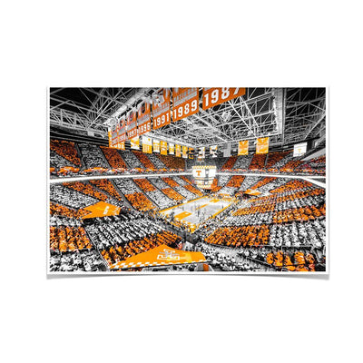 Tennessee Volunteers - Checkerboard Thompson-Boling DuoTone - College Wall Art #Poster