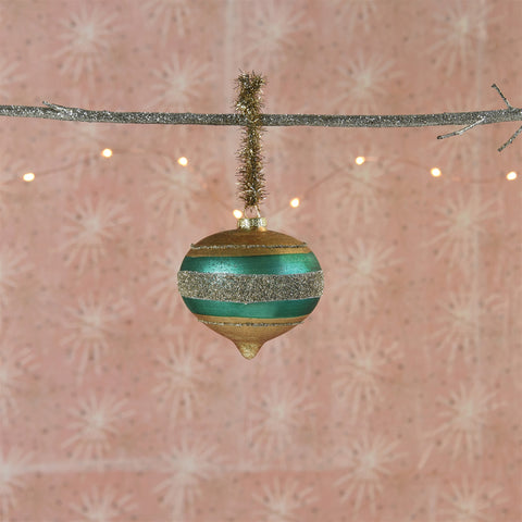Clara Ornament, Glass - Teal