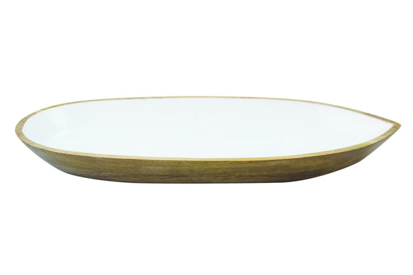 Mango Wood & White Enamel Large Oval Dish
