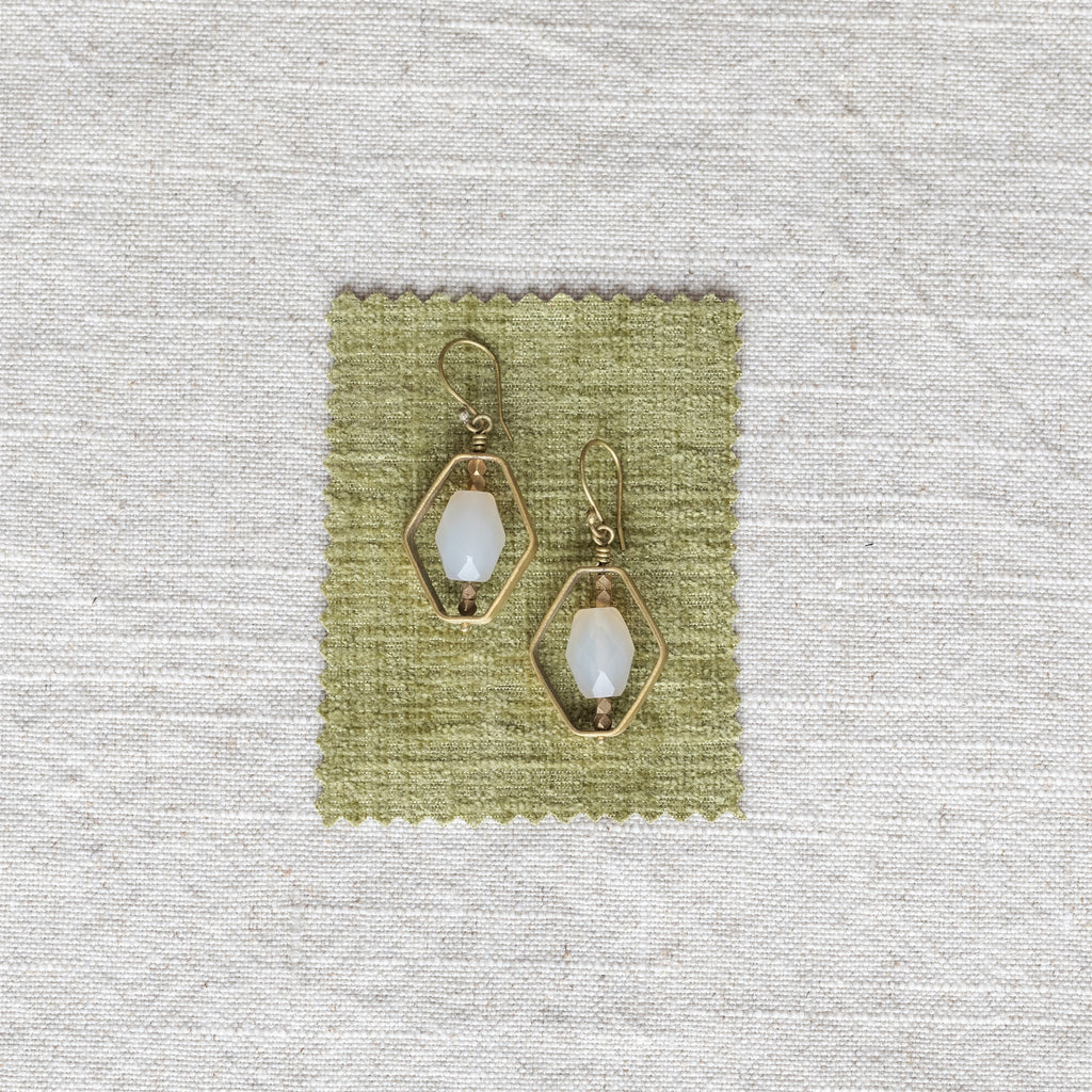 Dewdrop Hexagon Earrings - White Onyx