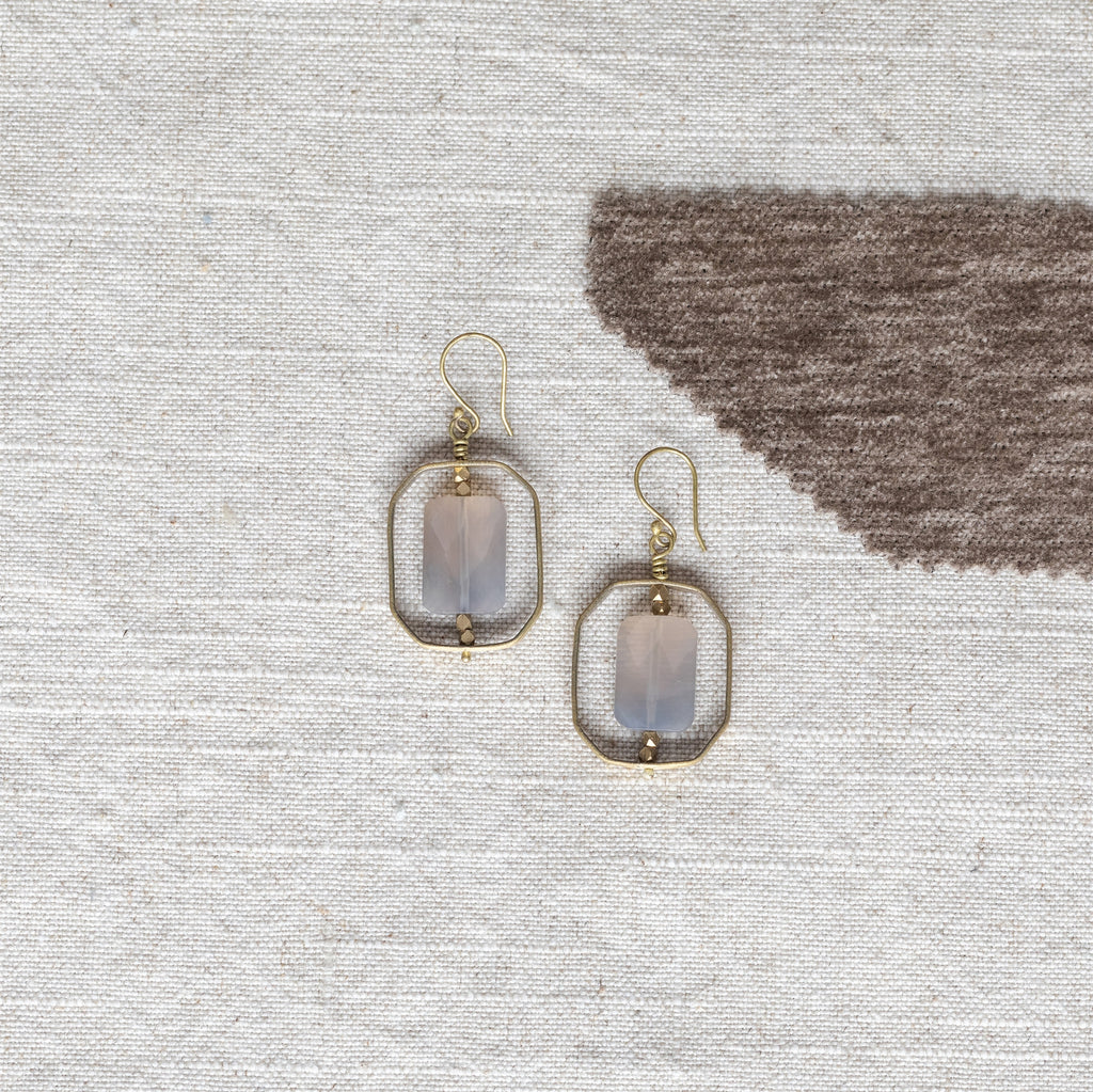 Dewdrop Rectangle Earrings - Grey Onyx