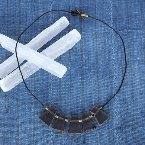 Nova Necklace, Black - Glass