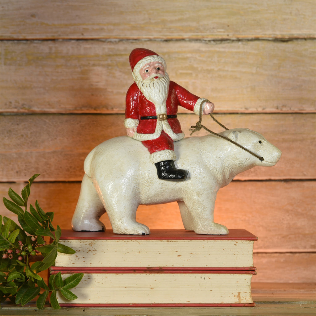 Polar Bear with Santa, Cast Iron