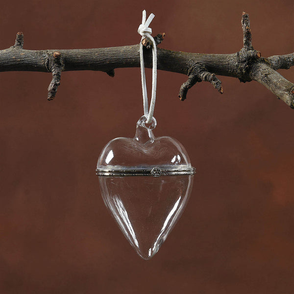 Glass Keepsake Box Ornament - Heart