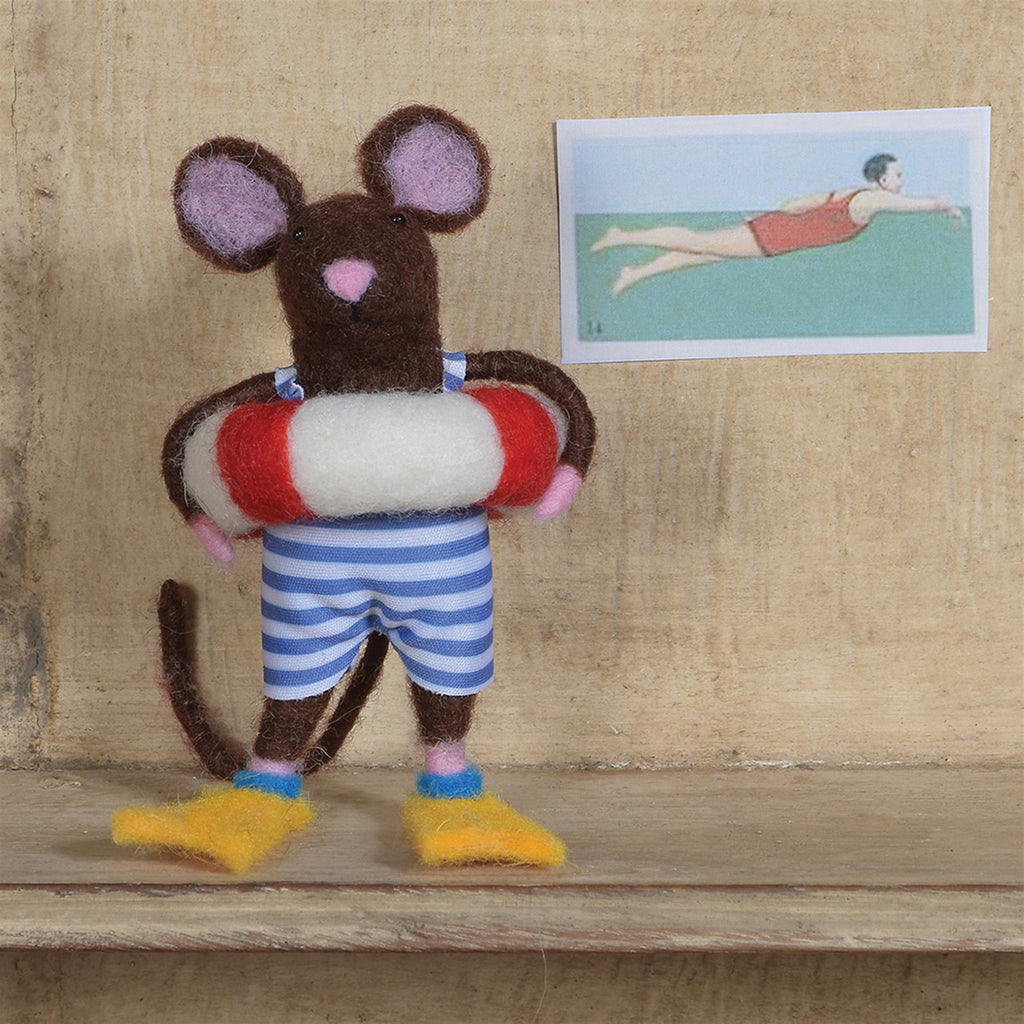 Felt Swimmer Guy Mouse Ornament