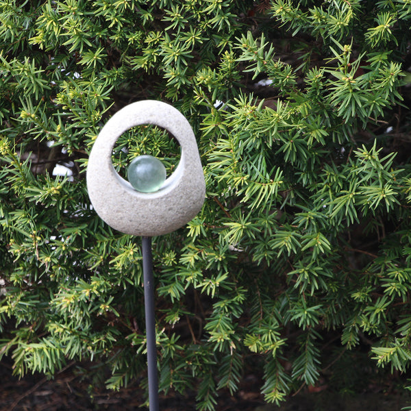 Moon Stone Garden Stake - Glass Ball