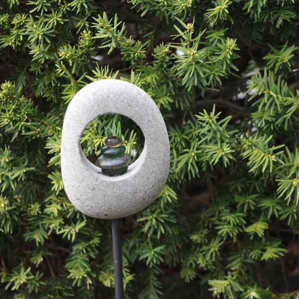 Moon Stone Garden Stake w Glass Cairn