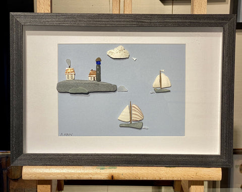 8x12 Seaside Village w/ Lighthouse and Sailboats