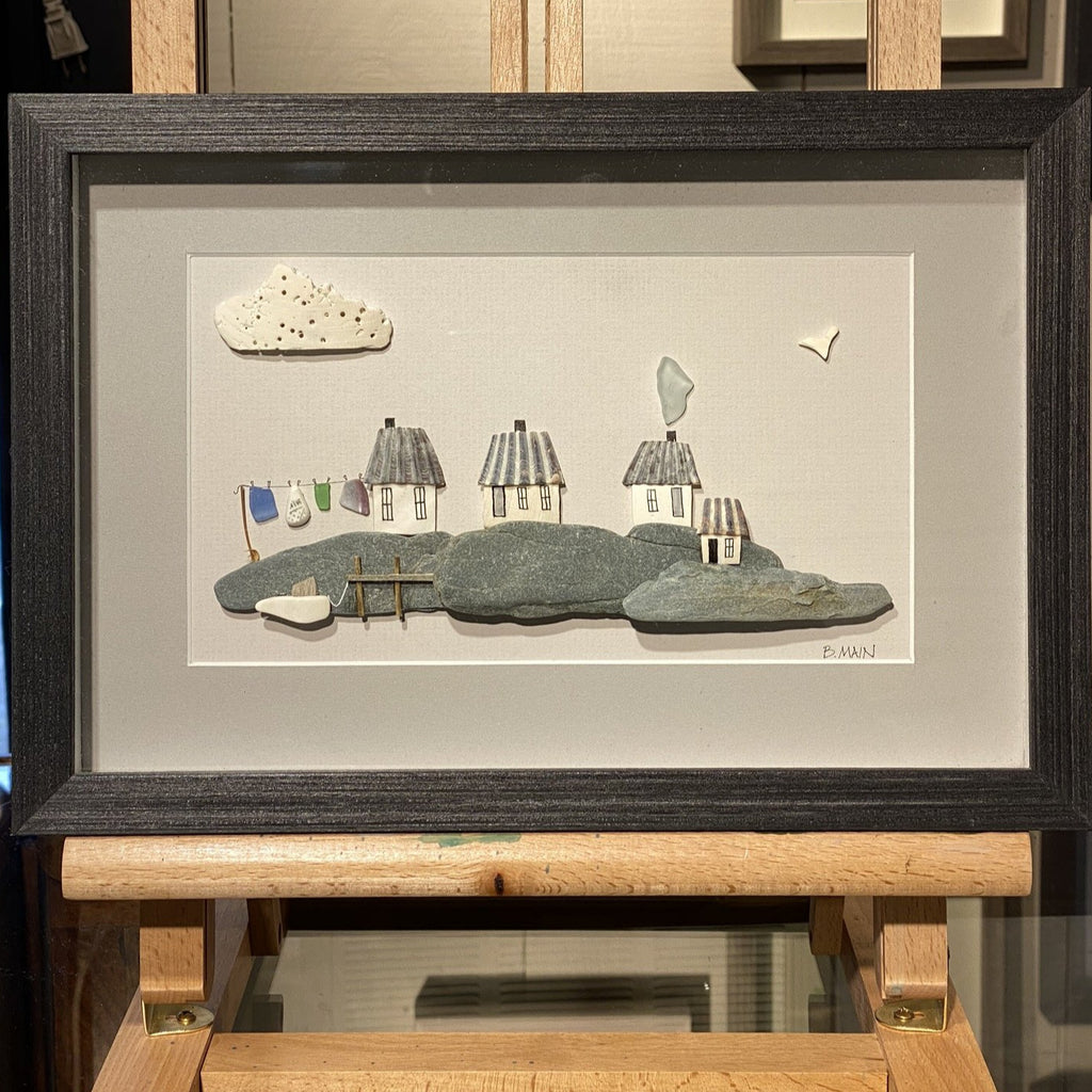 8x12 Seaside Village w/ Sailboat & Clothesline