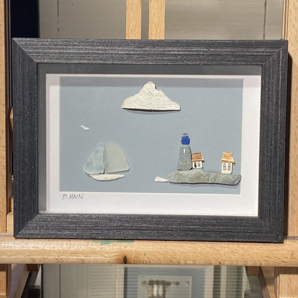 5x7 Seaside Village w/ Multi-colored Sailboat