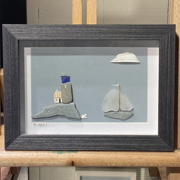 5x7 Seaside Village with Sailboat