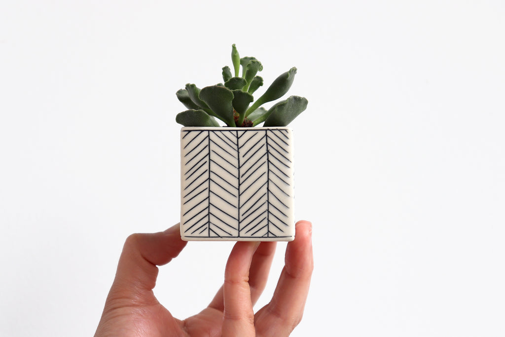 Small Square Planter Herringbone