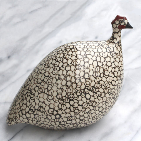 Guinea Fowl White Spotted Black