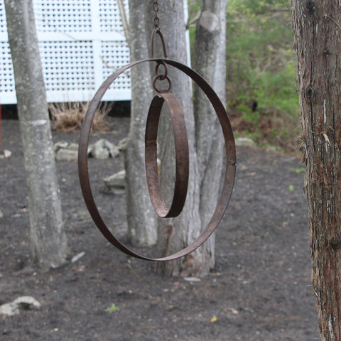 Salvaged Iron Ring Mobile with Chain (Large)