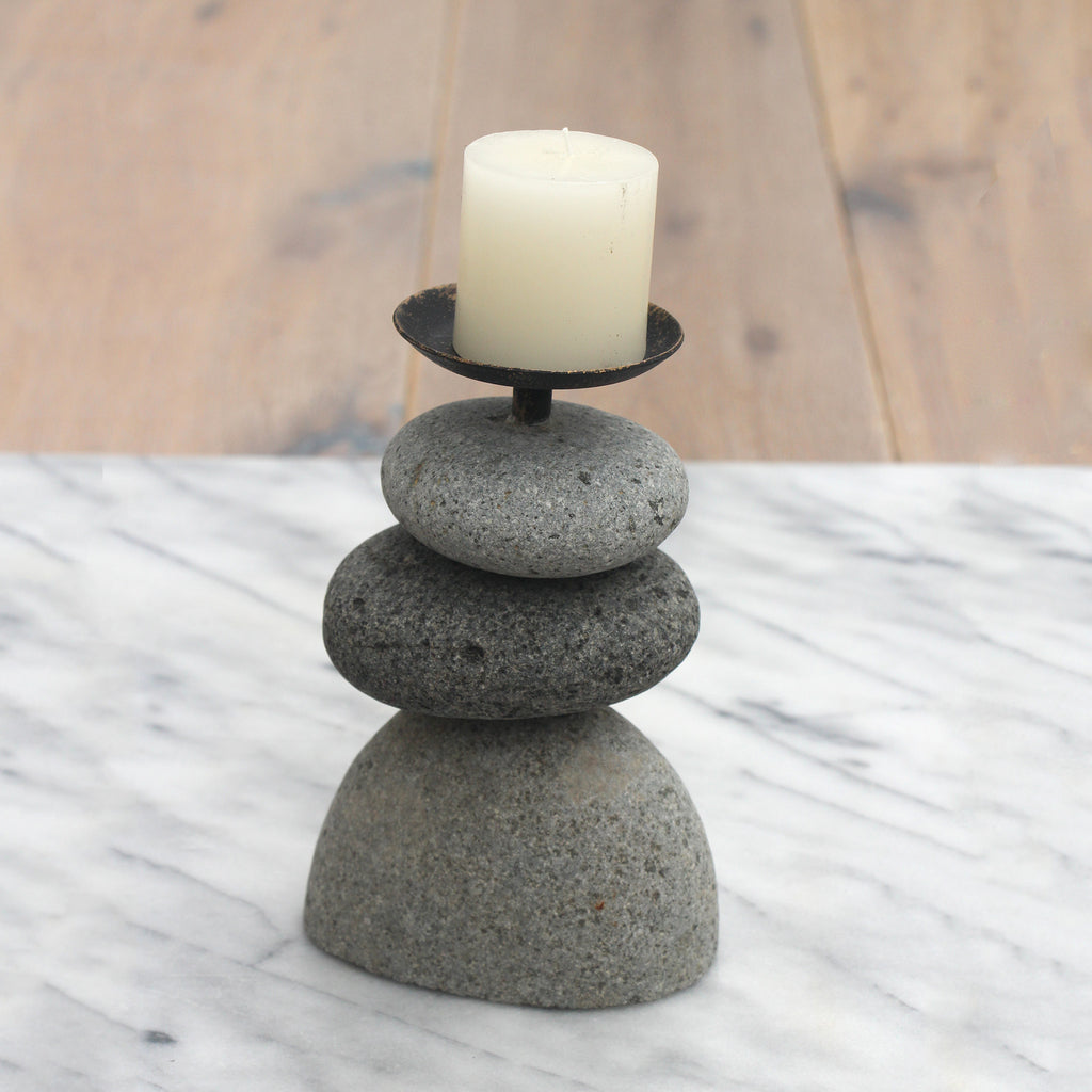 Rock Cairn Candle Holders