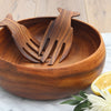 Acacia Wood Round Calabash Bowl (Serving utensils sold separately)