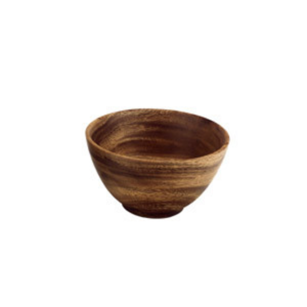 Acacia Wood Round Rice & Soup Bowl with Base
