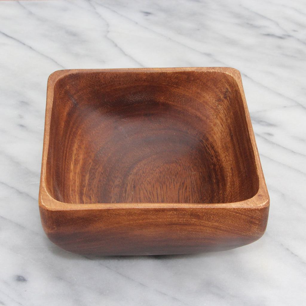 Acacia Wood Indiv Square Bowl w Base