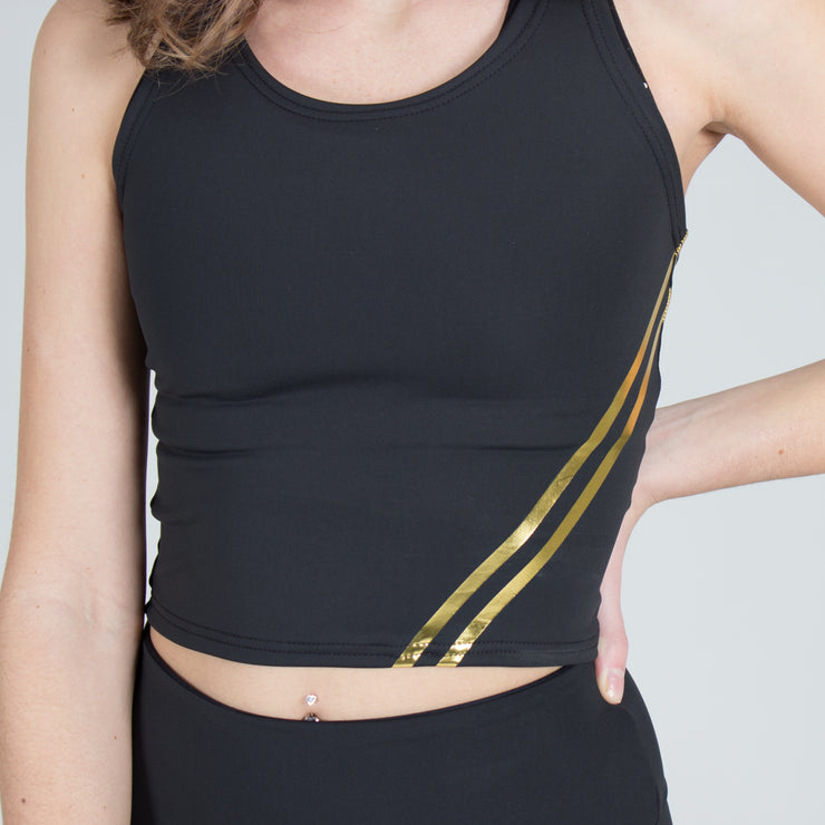 Metallic Stripe Crop Top