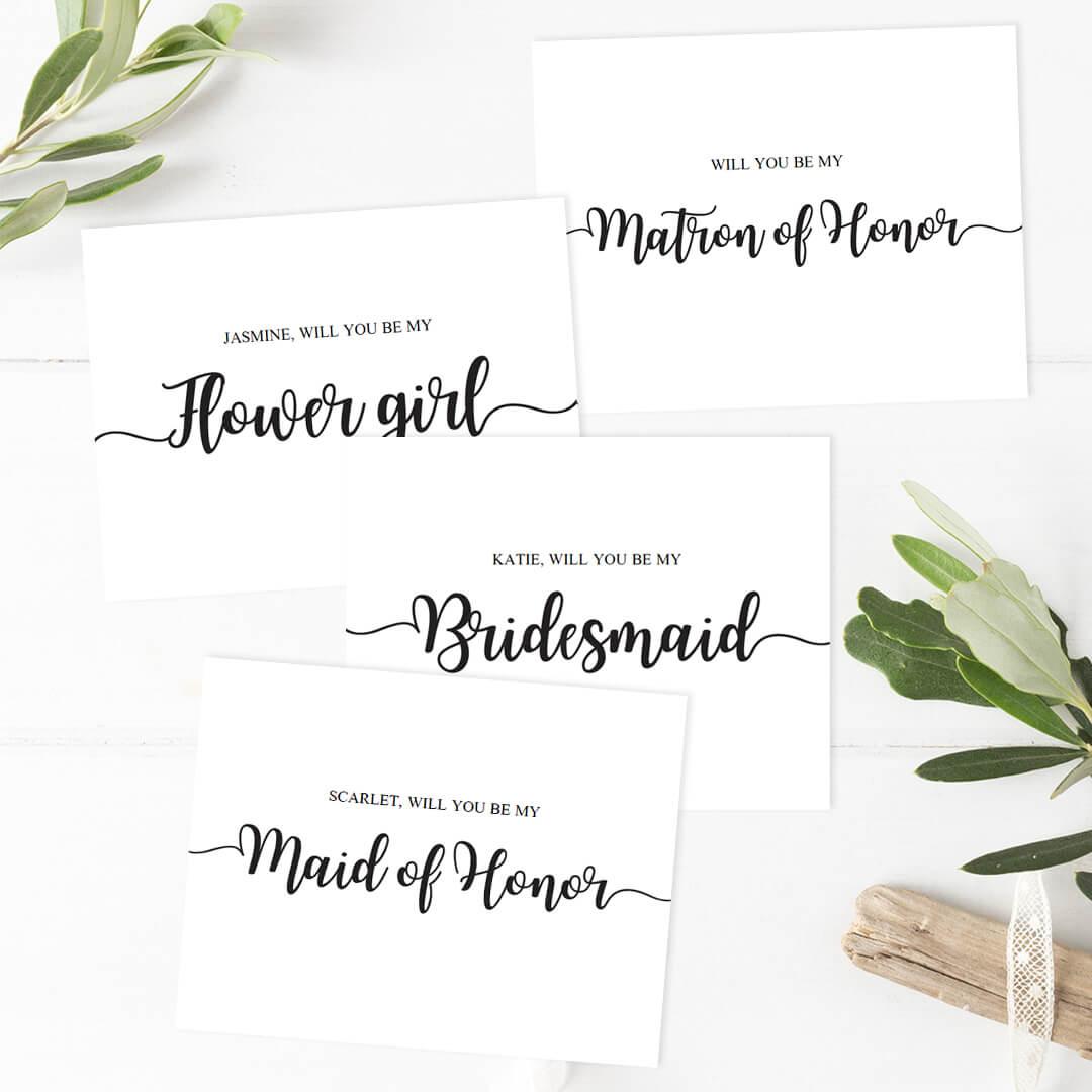 Calligraphy Wedding Party Proposal Cards Templates By Papersizzle  Party Proposal