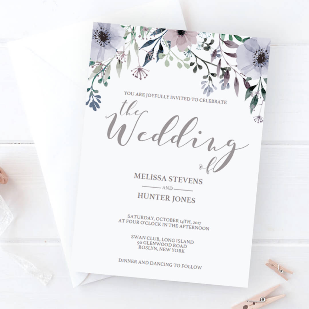 Lavender Wedding Invitations Templates With Florals By Papersizzle