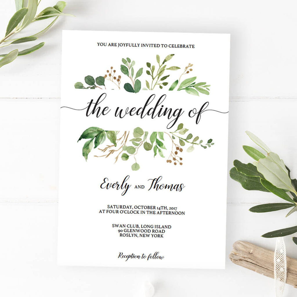 Green leaves watercolor wedding invitation template download green leaves watercolor wedding invitation template junglespirit Image collections