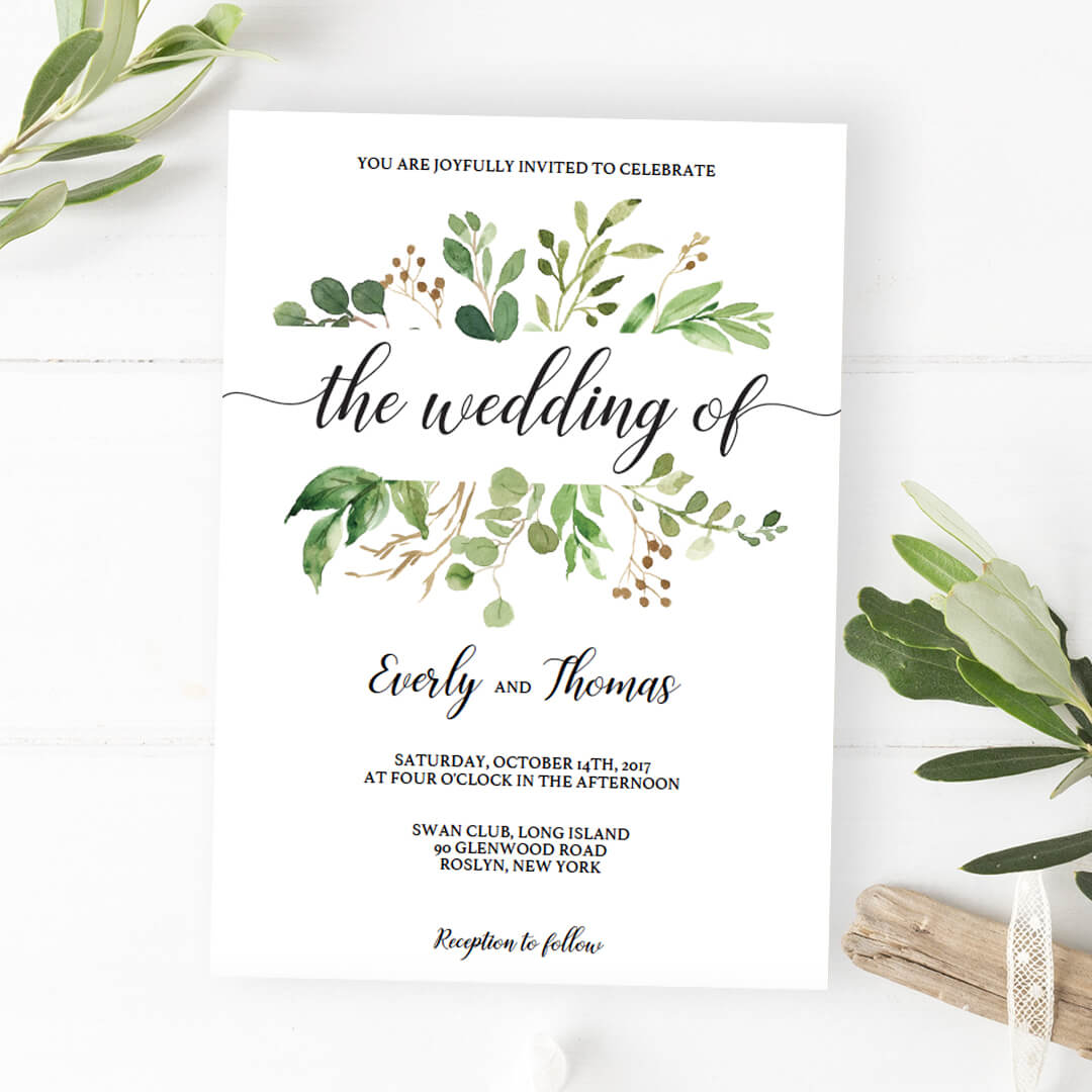 Lush Green Wedding Invitations With Calligraphy Typeface By Papersizzle