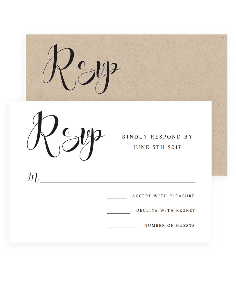Calligraphy swirls rsvp cards papersizzle simple wedding rsvp cards templates pronofoot35fo Choice Image