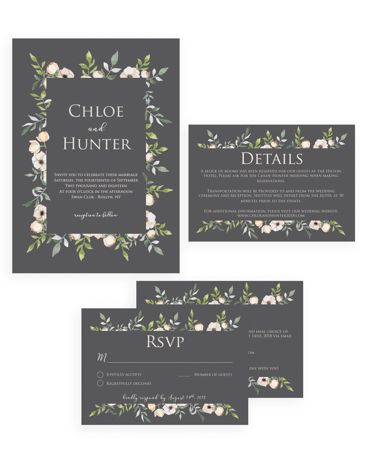 Unique wedding invitation sets easy to use templates papersizzle grey and blush greenery wedding invitation suite template download by papersizzle monicamarmolfo Choice Image