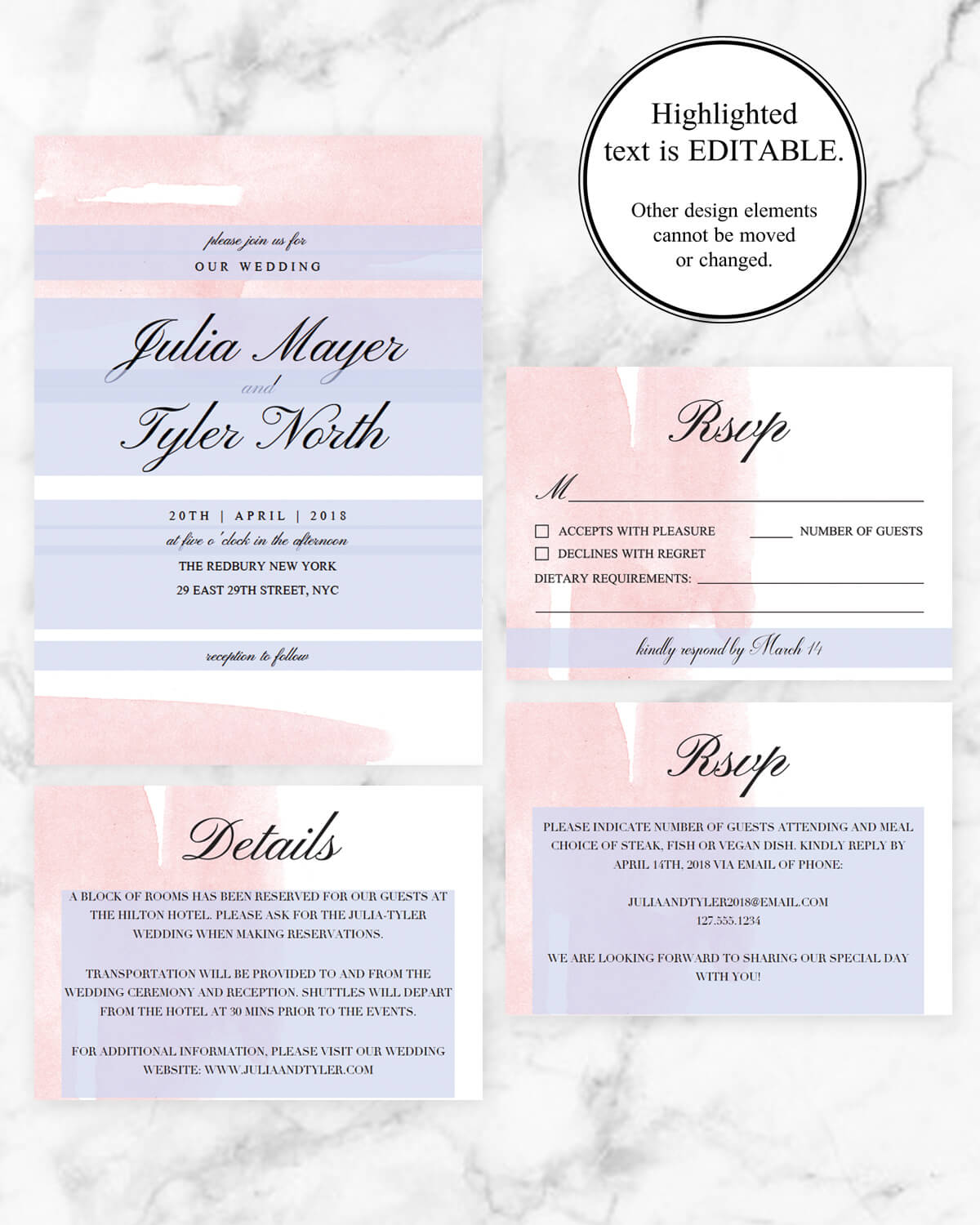 Blush Watercolor Wedding Invitation Suite | Wedding Printables ...