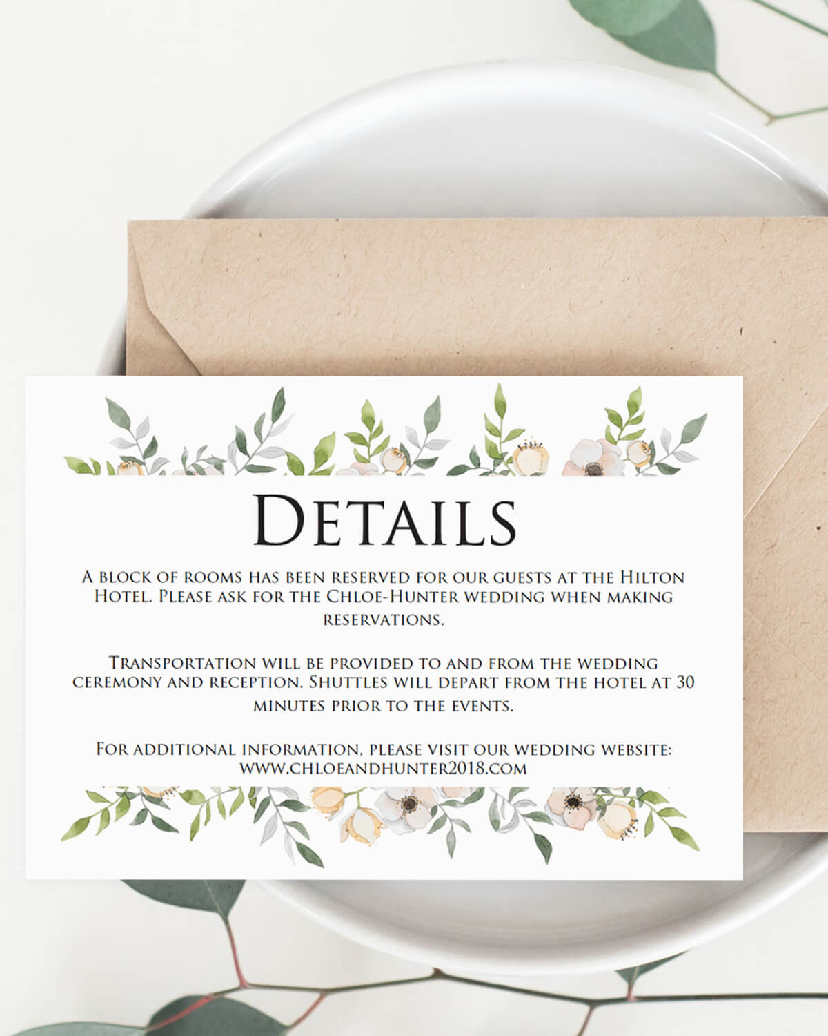Blush greenery wedding invitation suite wedding stationery floral details card template for wedding by papersizzle stopboris Image collections