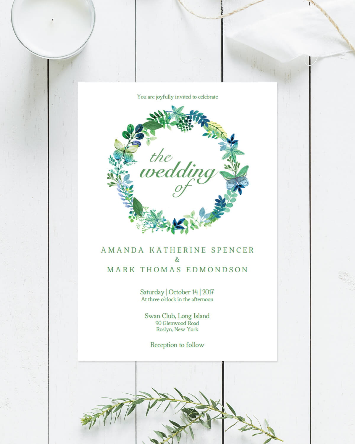 Butterfly Wreath - Wedding Invitation - Papersizzle