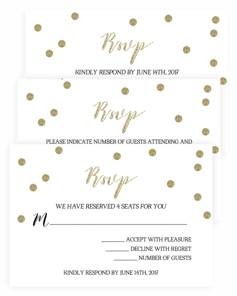 Gold confetti wedding response cards templates instant download gold confetti wedding response cards templates pronofoot35fo Choice Image