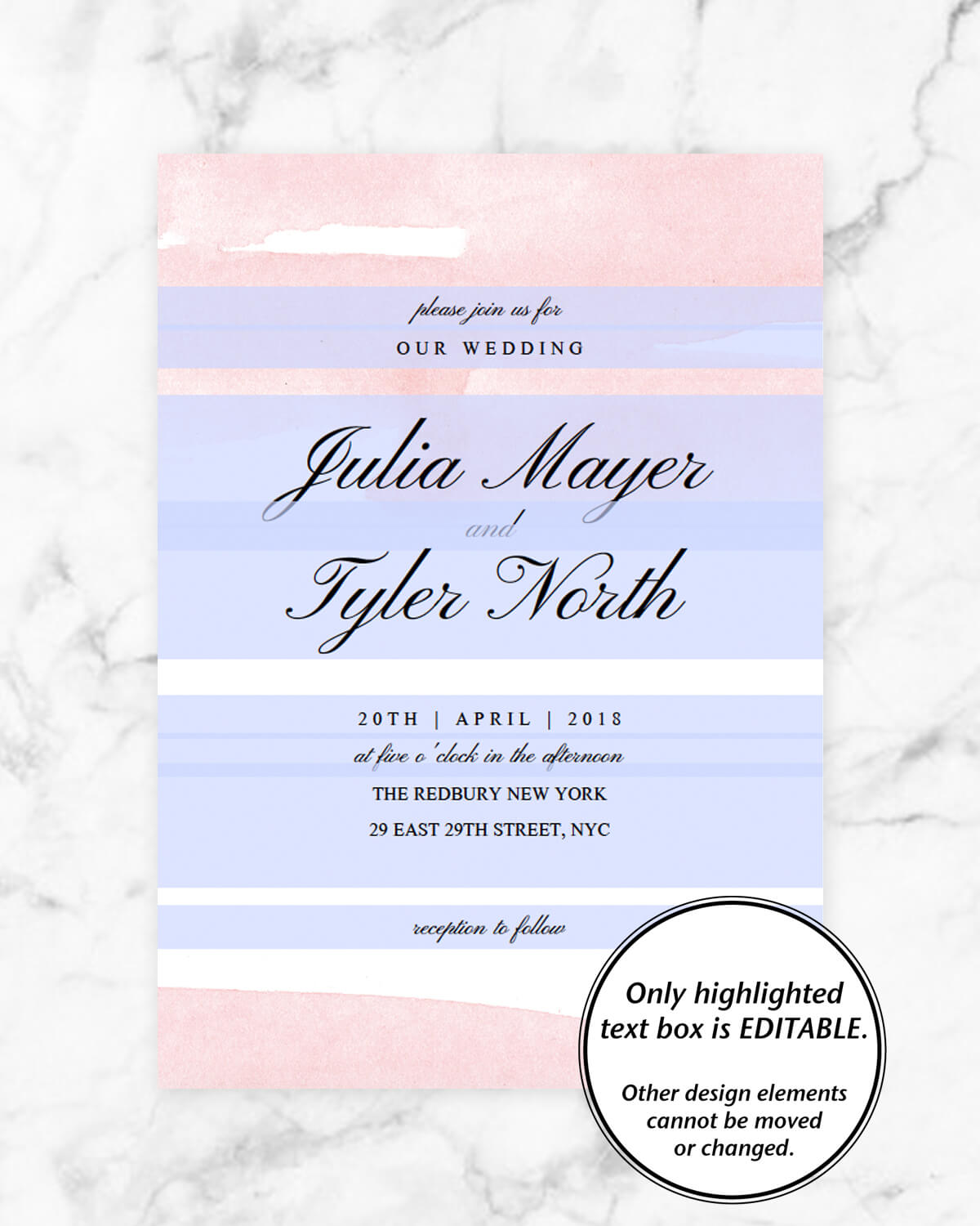 Blush Watercolor Wedding Invitation Template | Instant Download ...