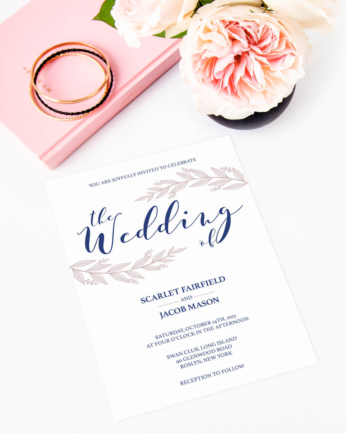 Navy and Pink Leaves Wedding Invitation Template - Papersizzle
