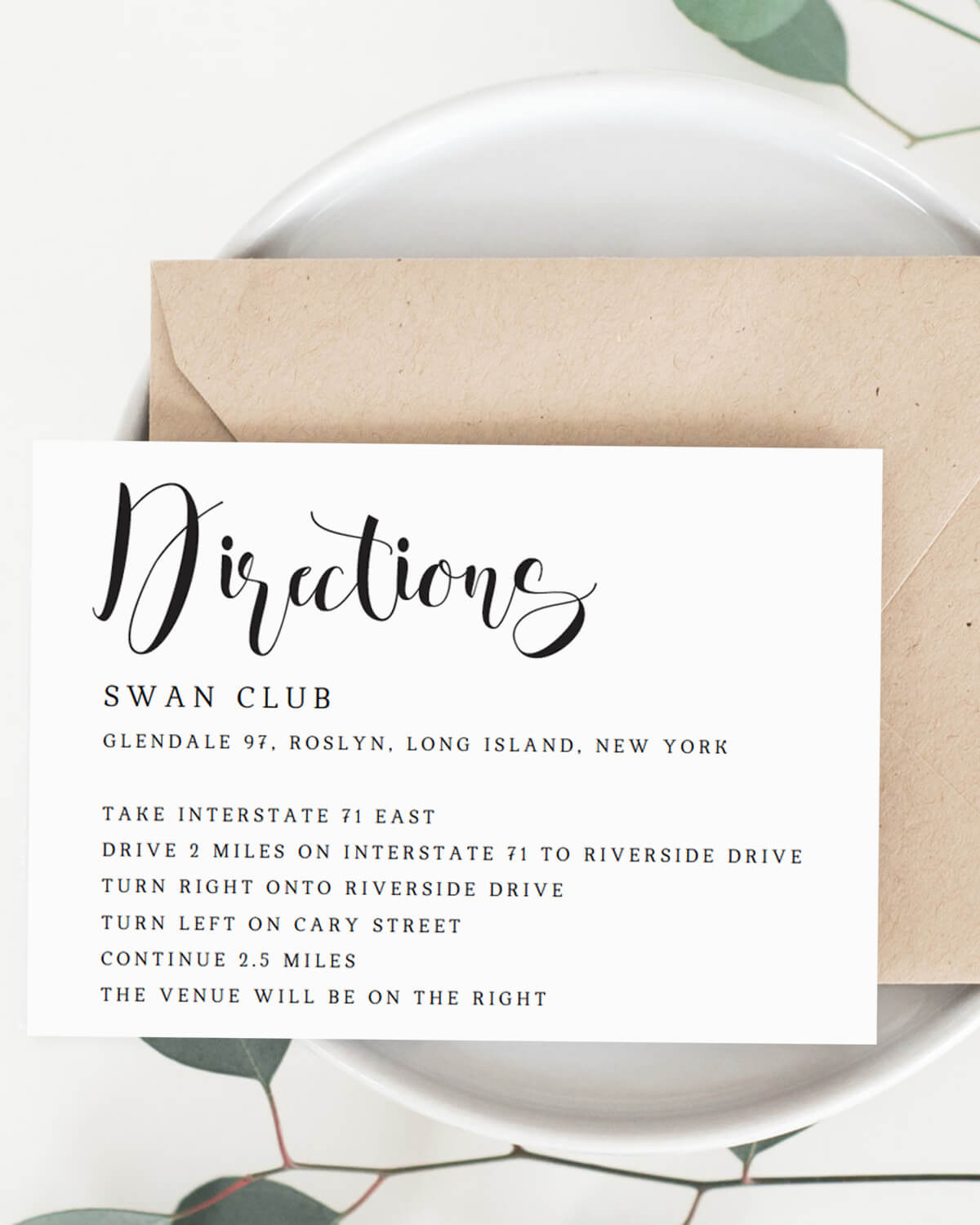 Directions card calligraphy swirls papersizzle calligraphy wedding directions card template by papersizzle stopboris Images